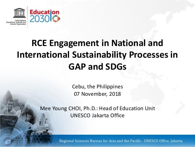 RCE Engagement in National and International Sustainability