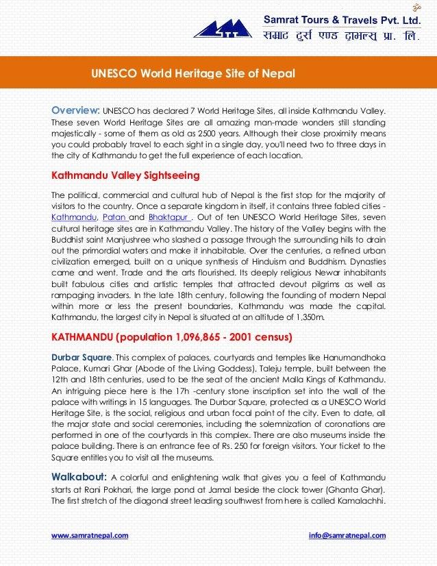 www.samratnepal.com info@samratnepal.com Overview: UNESCO has declared 7 World Heritage Sites, all inside Kathmandu Valley...