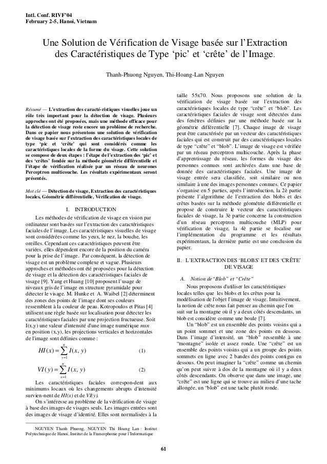 Intl. Conf. RIVF'04February 2-5, Hanoi, Vietnam61Résumé — L'extraction des caracté-ristiques visuelles joue unrôle très im...