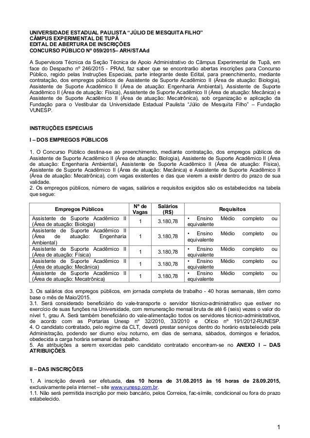 """1 UNIVERSIDADE ESTADUAL PAULISTA """"JÚLIO DE MESQUITA FILHO"""" CÂMPUS EXPERIMENTAL DE TUPÃ EDITAL DE ABERTURA DE INSCRIÇÕES CO..."""