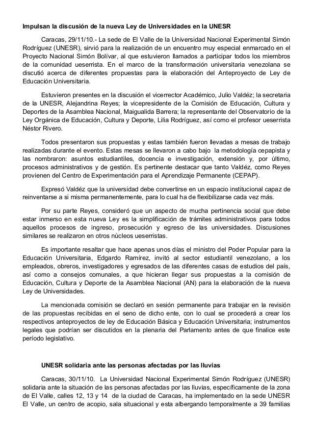 Impulsan la discusión de la nueva Ley de Universidades en la UNESR       Caracas, 29/11/10.- La sede de El Valle de la Uni...
