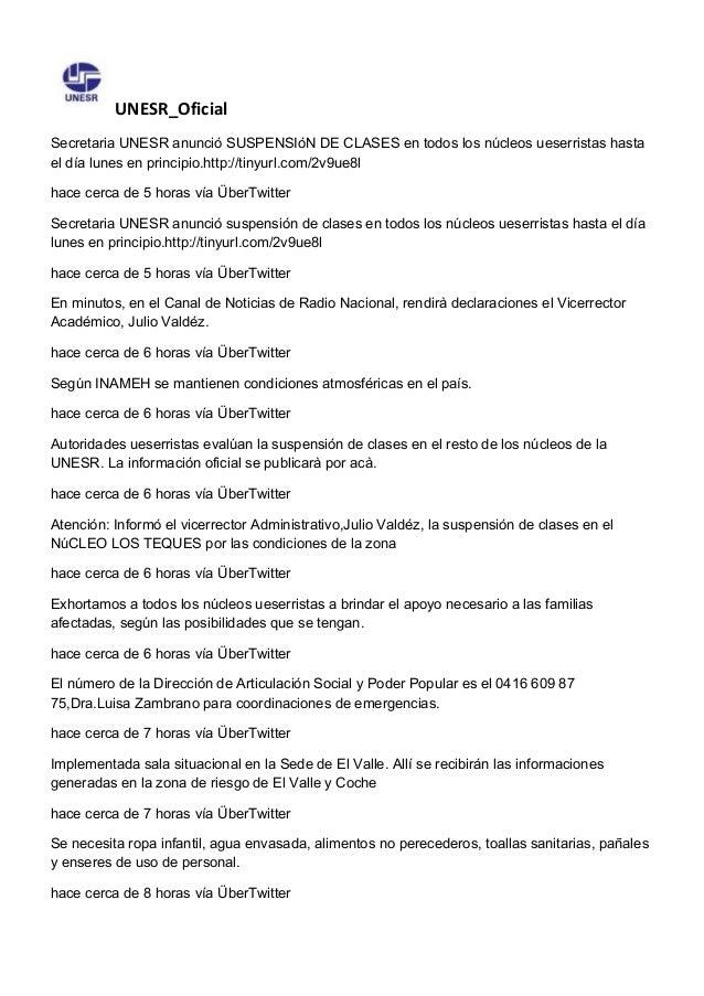 UNESR_Oficial Secretaria UNESR anunció SUSPENSIóN DE CLASES en todos los núcleos ueserristas hasta el día lunes en princip...