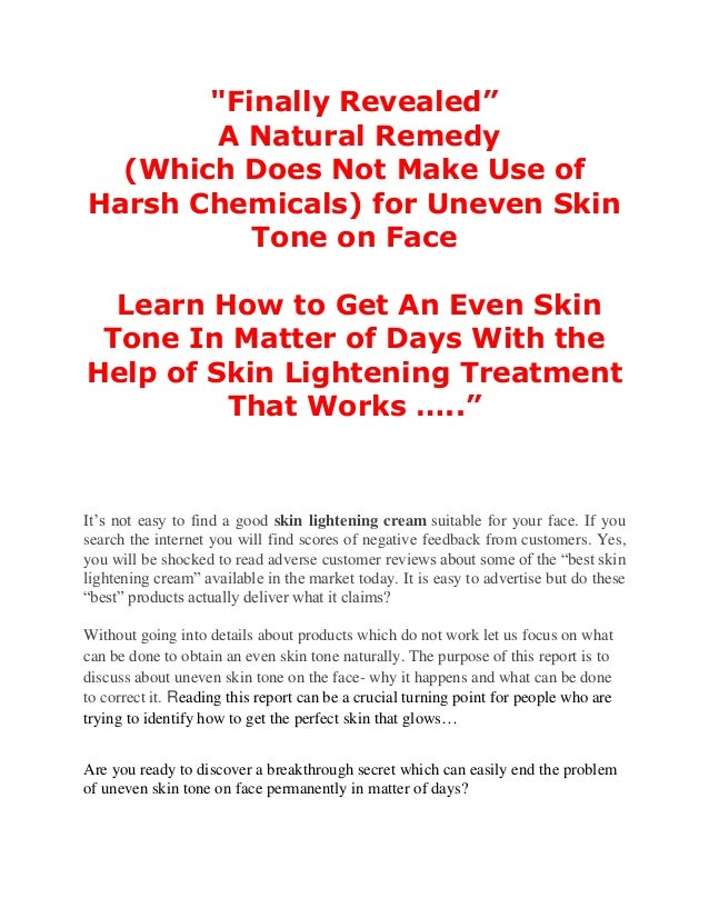 natural remedies for even skin tone