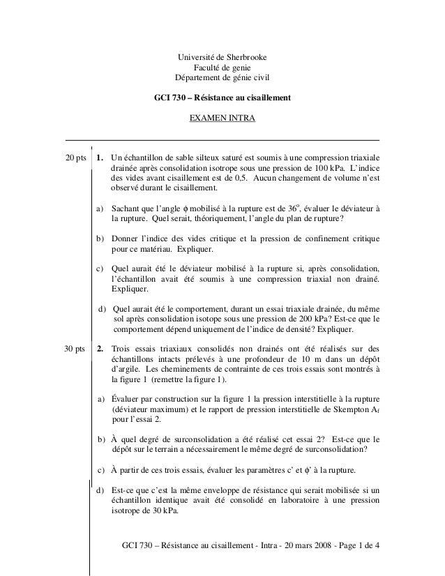 GCI 730 – Résistance au cisaillement - Intra - 20 mars 2008 - Page 1 de 4 Université de Sherbrooke Faculté de genie Départ...