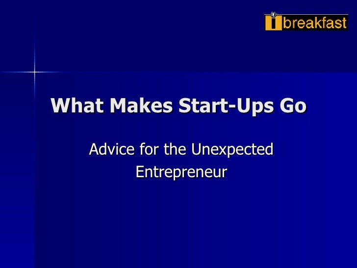 What Makes Start-Ups Go Advice for the Unexpected Entrepreneur