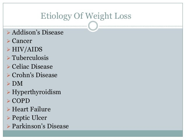 differential diagnosis for involuntary weight loss
