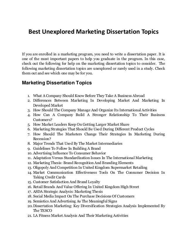 good dissertation topics for marketing