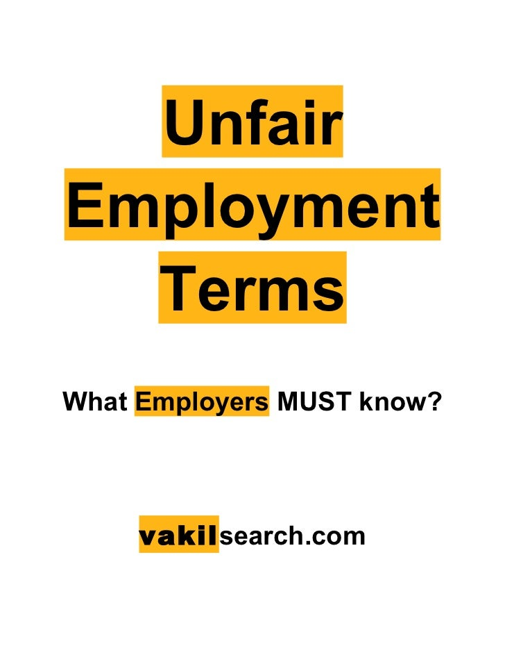 UnfairEmployment  TermsWhat Employers MUST know?     vakilsearch.com