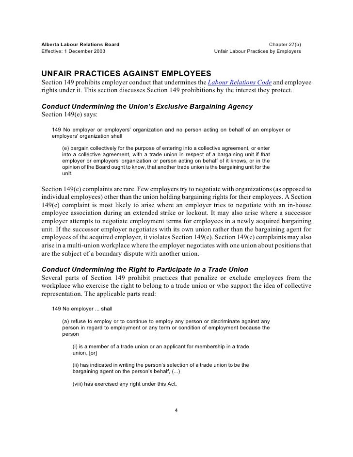 Unfair Labor Practices By Employees