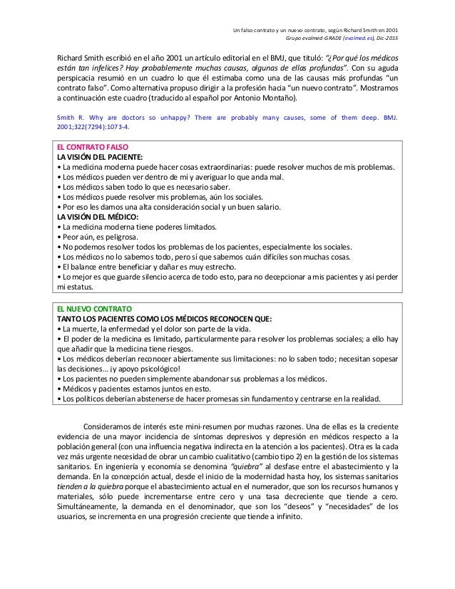 Un falso contrato y un nuevo contrato, según Richard Smith en 2001 Grupo evalmed-GRADE (evalmed.es), Dic-2015 Richard Smit...