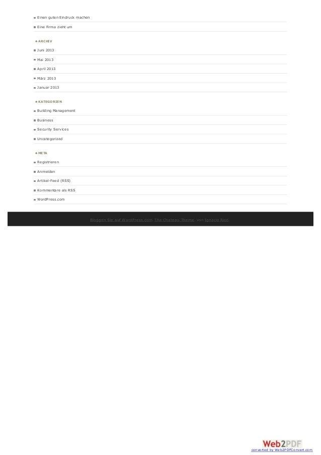 Einen guten Eindruck machen Eine Firma zieht um ♣ ARCHIV Juni 2013 Mai 2013 April 2013 März 2013 Januar 2013 ♣ KATEGORIEN ...