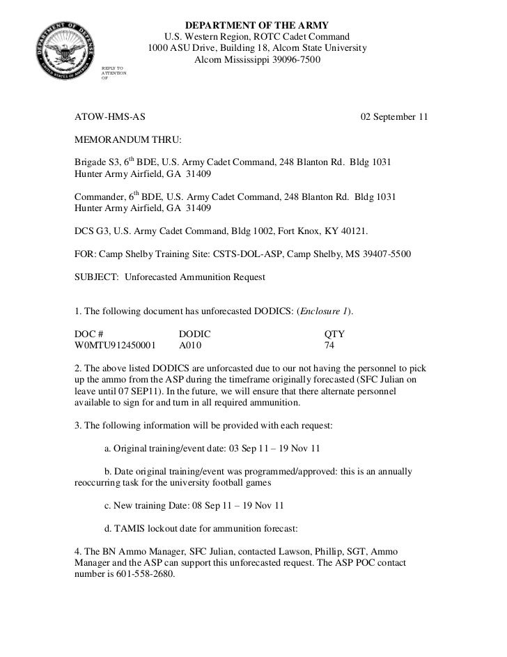 Unforecasted ammo request memorandum sep for Memorandum for the record template