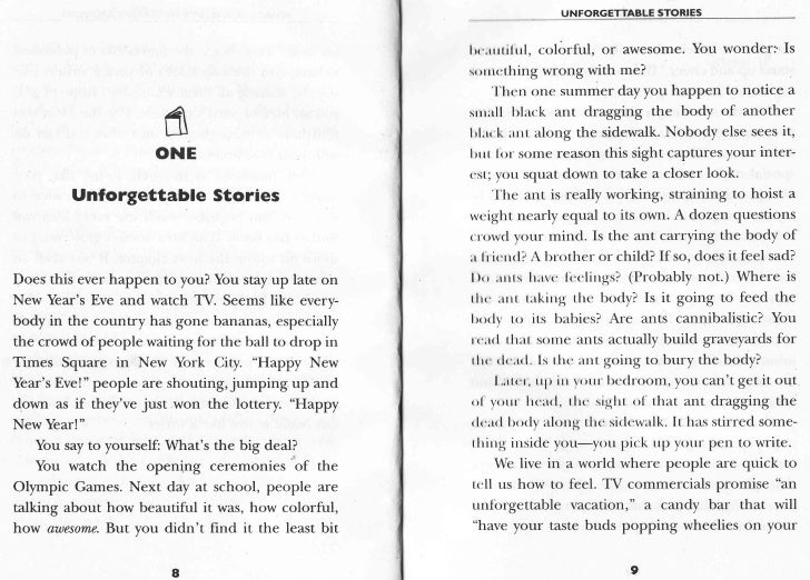 UNFORGETTABLE STORIES                                                         lrr'.r rtilrrl, colorful, or awesome. You wo...
