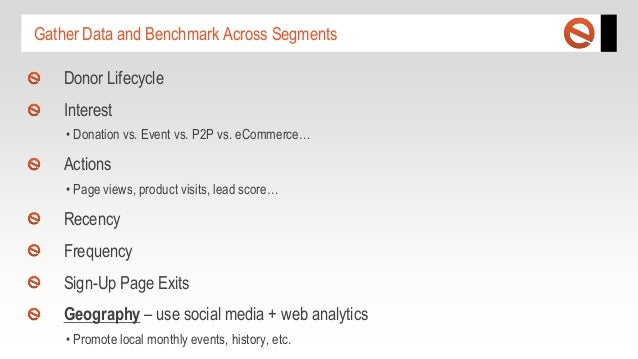 Gather Data and Benchmark Across Segments Donor Lifecycle Interest • Donation vs. Event vs. P2P vs. eCommerce…  Actions • ...