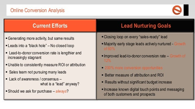 Online Conversion Analysis  Current Efforts  Lead Nurturing Goals   Generating more activity, but same results   Closing...
