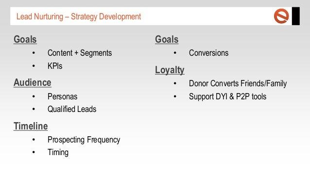 Lead Nurturing – Strategy Development  Goals • •  Goals Content + Segments KPIs  Audience • •  Personas Qualified Leads  T...