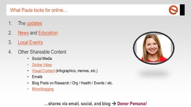 What Paula looks for online… 1.  The updates  2.  News and Education  3.  Local Events  4.  Other Shareable Content • • • ...
