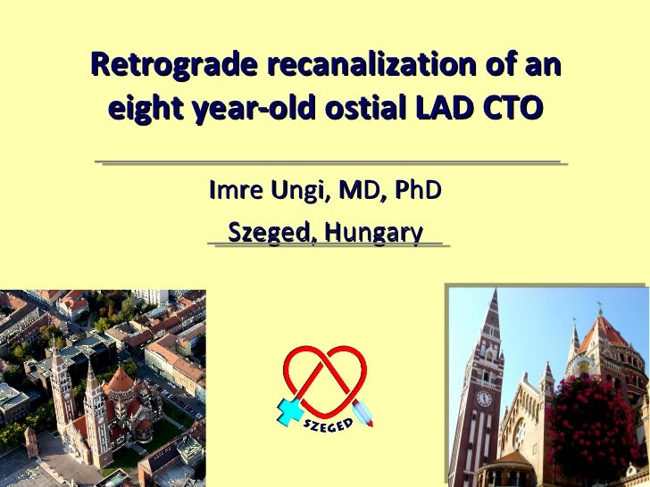 Retrograde recanalization of an eight year-old ostial LAD CTO Imre Ungi, MD, PhD Szeged, Hungary
