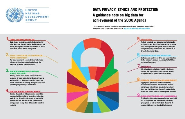 DATA PRIVACY, ETHICS AND PROTECTION A guidance note on big data for achievement of the 2030 Agenda * This is a modified ve...