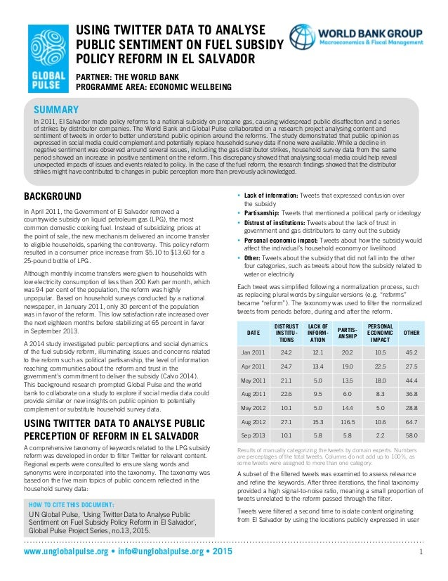 www.unglobalpulse.org • info@unglobalpulse.org • 2015 1 USING TWITTER DATA TO ANALYSE PUBLIC SENTIMENT ON FUEL SUBSIDY POL...