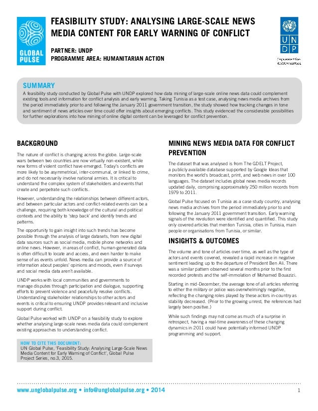 www.unglobalpulse.org • info@unglobalpulse.org • 2014 1 FEASIBILITY STUDY: ANALYSING LARGE-SCALE NEWS MEDIA CONTENT FOR EA...
