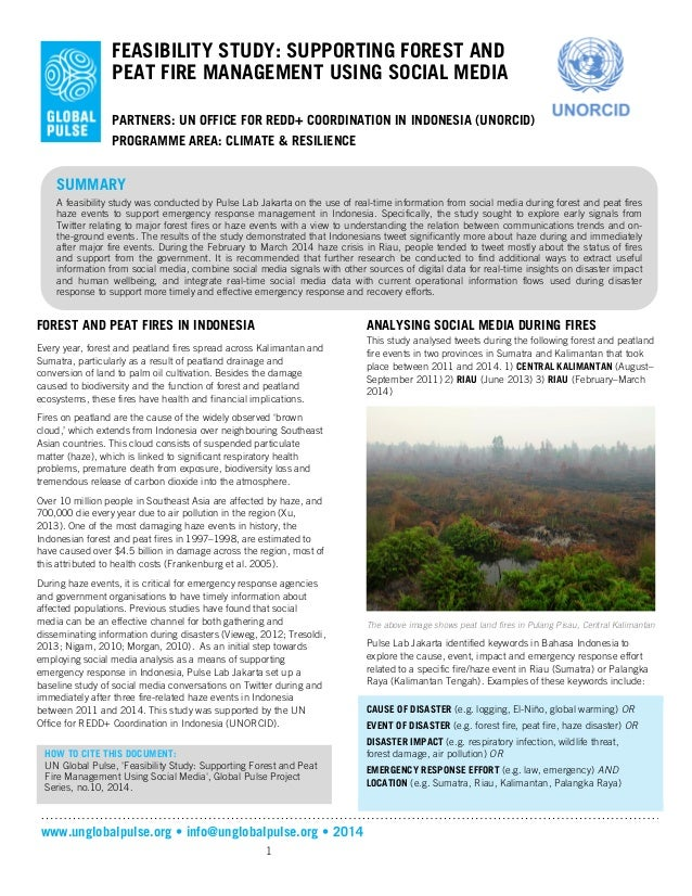 www.unglobalpulse.org • info@unglobalpulse.org • 2014 1 FEASIBILITY STUDY: SUPPORTING FOREST AND PEAT FIRE MANAGEMENT USIN...