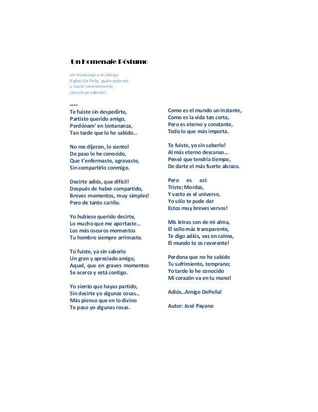 Un Homenaje Póstumo Un Homenaje a mi Amigo Rafael De Peña, quién enfermó y murió recientemente, casi sin yo saberlo!: ----...
