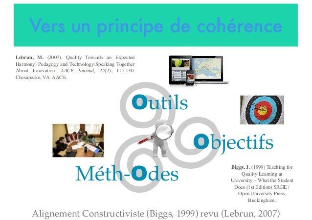 Vers un principe de cohérence Alignement Constructiviste (Biggs, 1999) revu (Lebrun, 2007) Outils Lebrun, M. (2007). Quali...