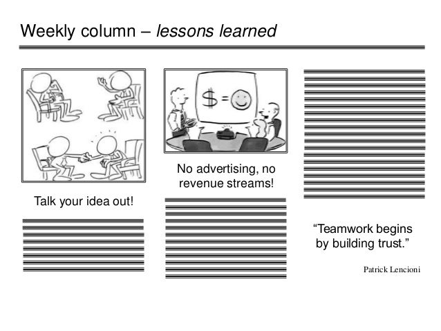 """Weekly column – lessons learned Talk your idea out! No advertising, no revenue streams! """"Teamwork begins by building trust..."""