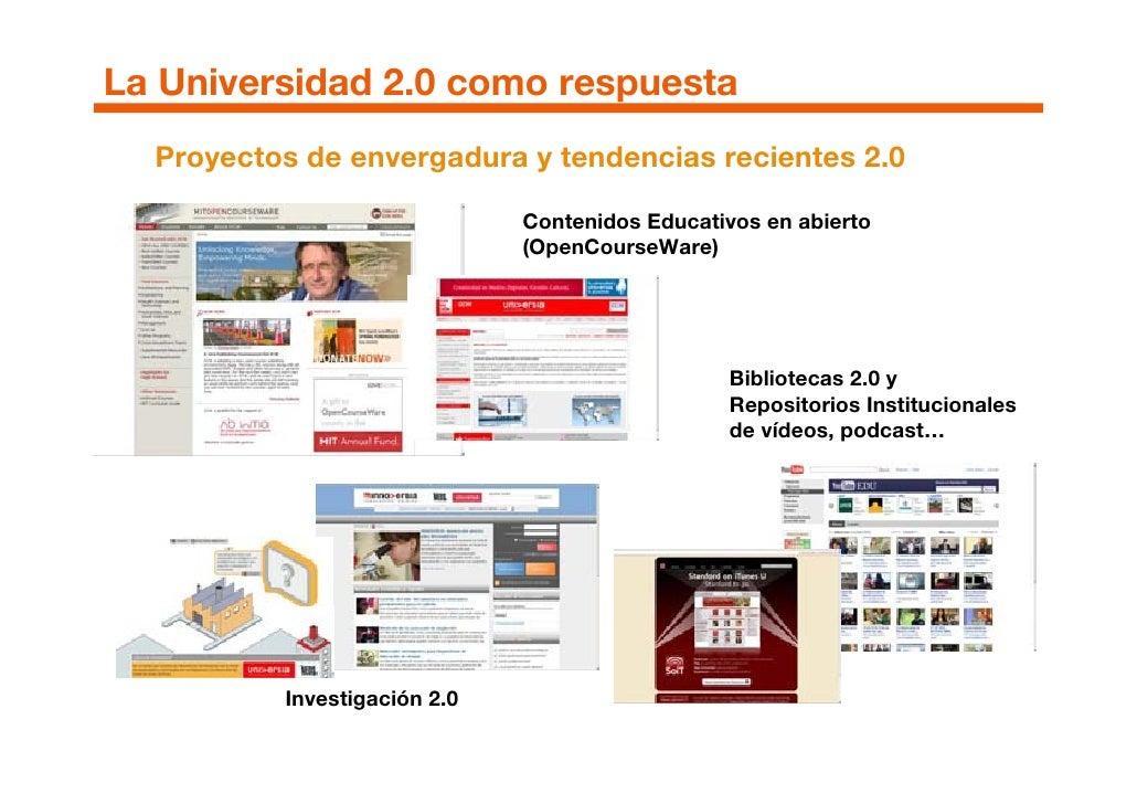 La Universidad 2.0 como respuesta   Proyectos de envergadura y tendencias recientes 2.0                                Con...