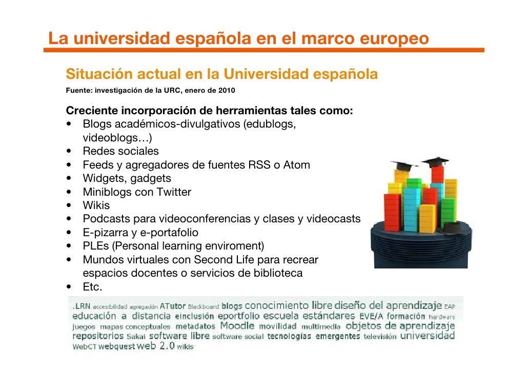 La universidad española en el marco europeo   Situación actual en la Universidad española   Fuente: investigación de la UR...
