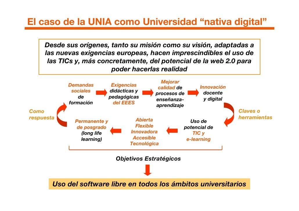 """El caso de la UNIA como Universidad """"nativa digital""""       Desde sus orígenes, tanto su misión como su visión, adaptadas a..."""