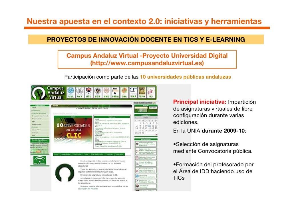 Nuestra apuesta en el contexto 2.0: iniciativas y herramientas       PROYECTOS DE INNOVACIÓN DOCENTE EN TICS Y E-LEARNING ...