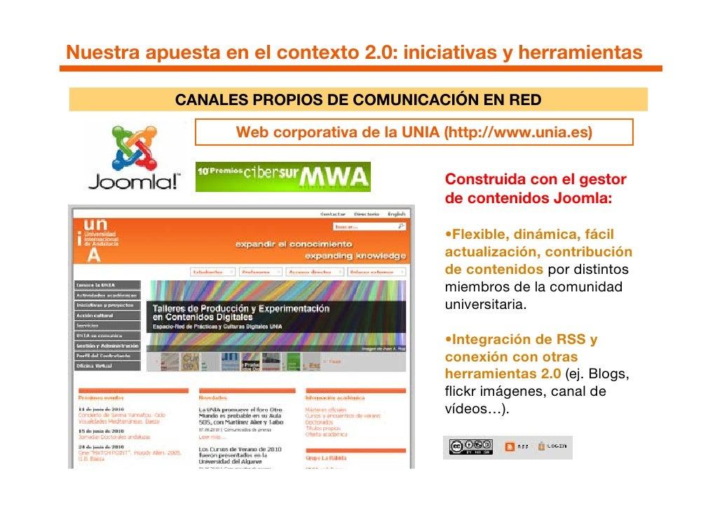 Nuestra apuesta en el contexto 2.0: iniciativas y herramientas             CANALES PROPIOS DE COMUNICACIÓN EN RED         ...