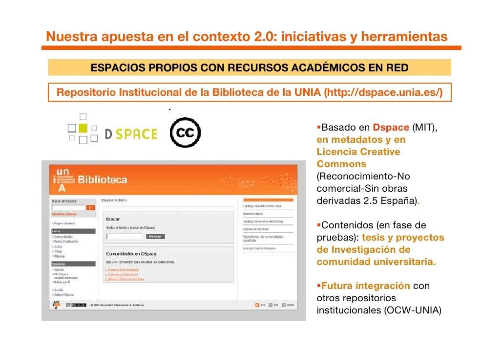 Nuestra apuesta en el contexto 2.0: iniciativas y herramientas         ESPACIOS PROPIOS CON RECURSOS ACADÉMICOS EN RED   R...