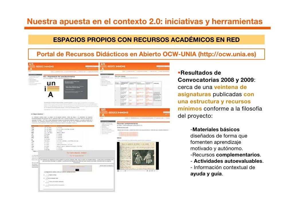 Nuestra apuesta en el contexto 2.0: iniciativas y herramientas         ESPACIOS PROPIOS CON RECURSOS ACADÉMICOS EN RED    ...