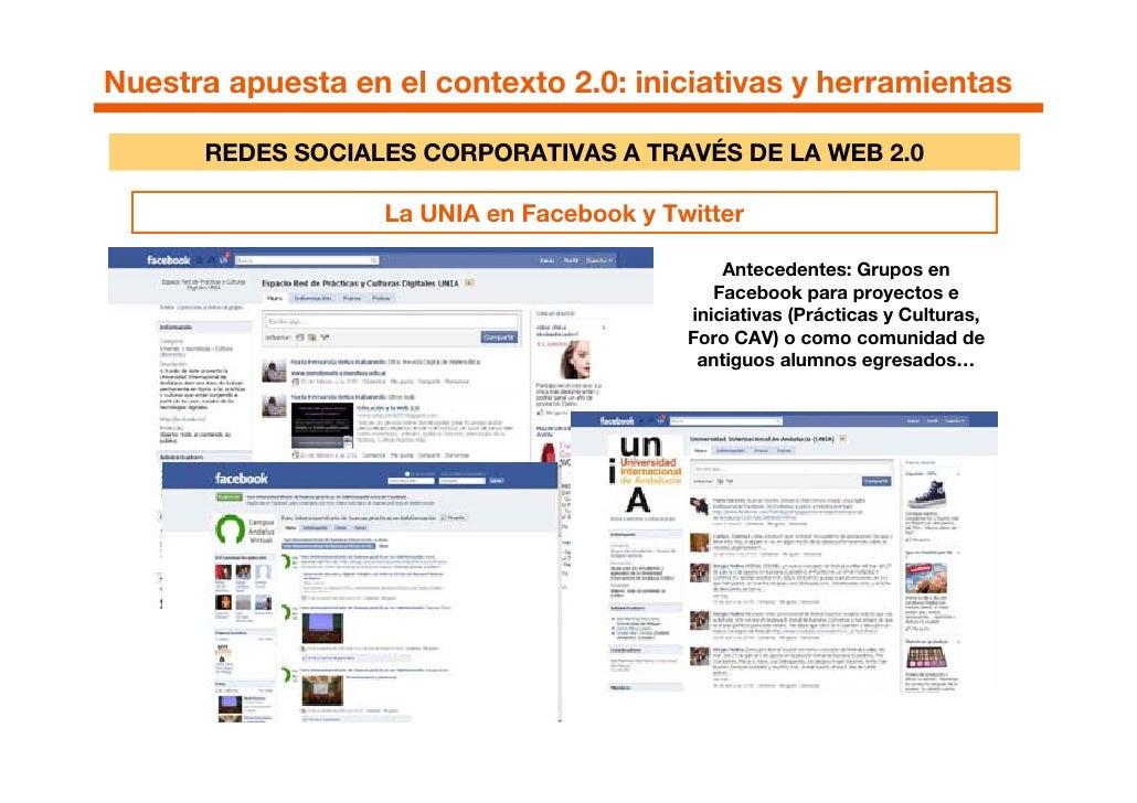 Nuestra apuesta en el contexto 2.0: iniciativas y herramientas        REDES SOCIALES CORPORATIVAS A TRAVÉS DE LA WEB 2.0  ...