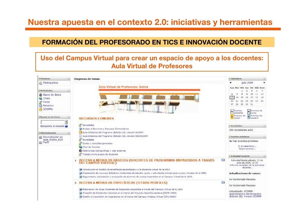 Nuestra apuesta en el contexto 2.0: iniciativas y herramientas     FORMACIÓN DEL PROFESORADO EN TICS E INNOVACIÓN DOCENTE ...