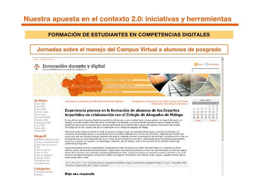 Nuestra apuesta en el contexto 2.0: iniciativas y herramientas           FORMACIÓN DE ESTUDIANTES EN COMPETENCIAS DIGITALE...