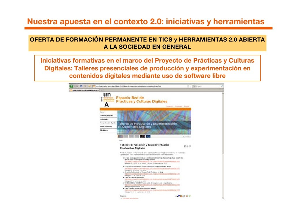 Nuestra apuesta en el contexto 2.0: iniciativas y herramientas  OFERTA DE FORMACIÓN PERMANENTE EN TICS y HERRAMIENTAS 2.0 ...