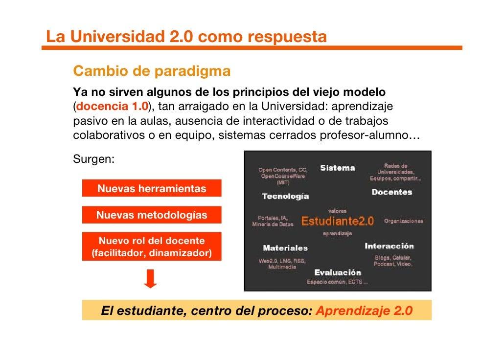 La Universidad 2.0 como respuesta    Cambio de paradigma    Ya no sirven algunos de los principios del viejo modelo    (do...