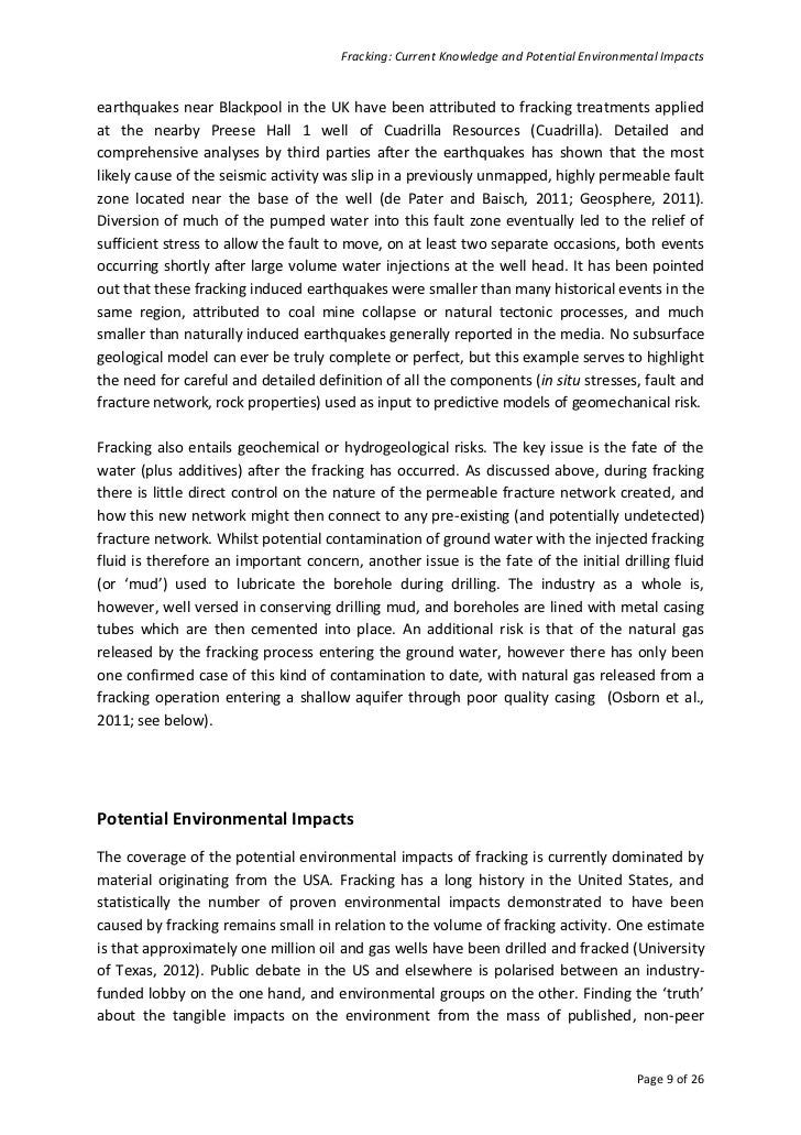 current knowledge Fracking: current knowledge and potential environmental impacts page 2 of 26  disclaimer the university of aberdeen shall retain the right to make use of.