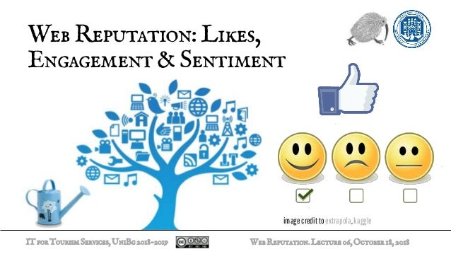 ITforTourismServices,UniBg2018-2019 WebReputation:Likes, Engagement&Sentiment WebReputation.Lecture06,October18,2018 image...