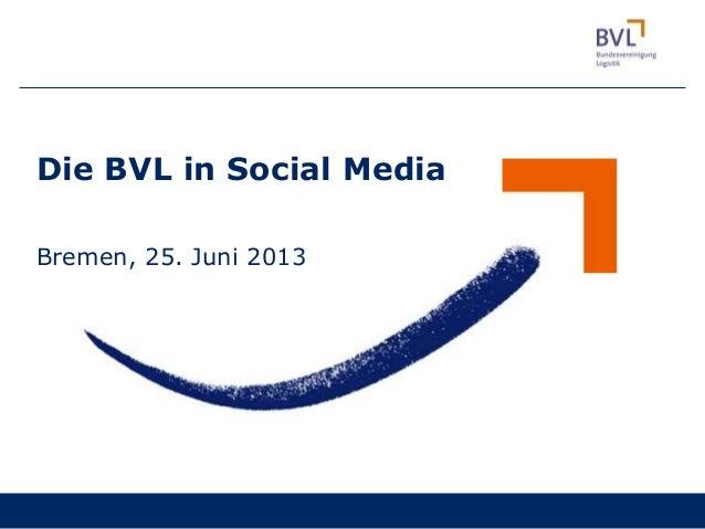 Die BVL in Social MediaBremen, 25. Juni 2013