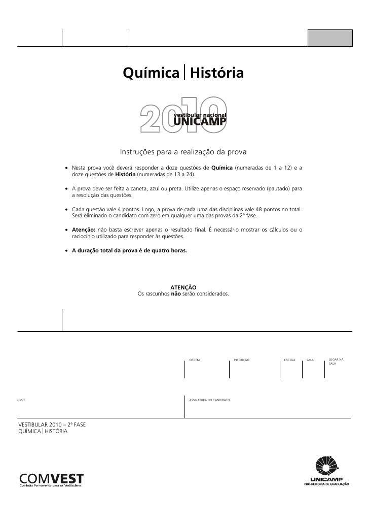 Química ⎢História                                            Instruções para a realização da prova                  • Nest...