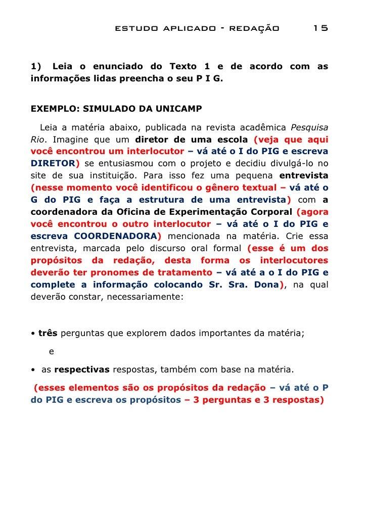 estudo aplicado - redação                   151) Leia o enunciado do Texto 1 e de acordo com asinformações lidas preencha ...
