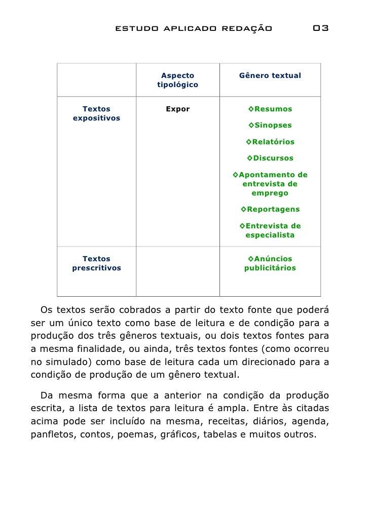 estudo aplicado redação                    03                            Aspecto          Gênero textual                  ...