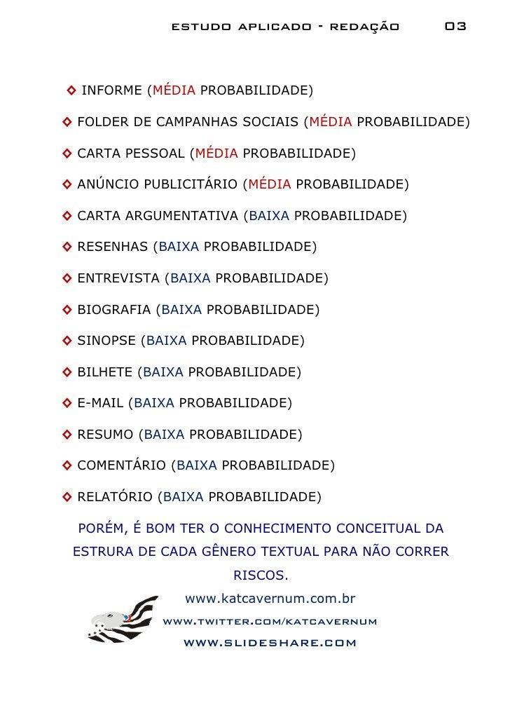 estudo aplicado - redação        03◊ INFORME (MÉDIA PROBABILIDADE)◊ FOLDER DE CAMPANHAS SOCIAIS (MÉDIA PROBABILIDADE)◊ CAR...