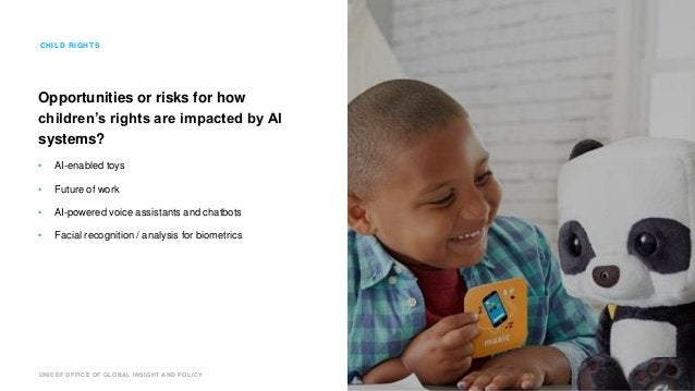 UNICEF OFFICE OF GLOBAL INSIGHT AND POLICY Opportunities or risks for how children's rights are impacted by AI systems? • ...