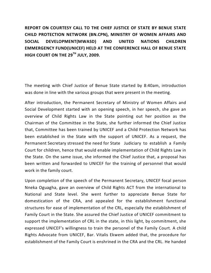 REPORT ON COURTESY CALL TO THE CHIEF JUSTICE OF STATE BY BENUE STATE CHILD PROTECTION NETWORK (BN.CPN), MINISTRY OF WOMEN ...